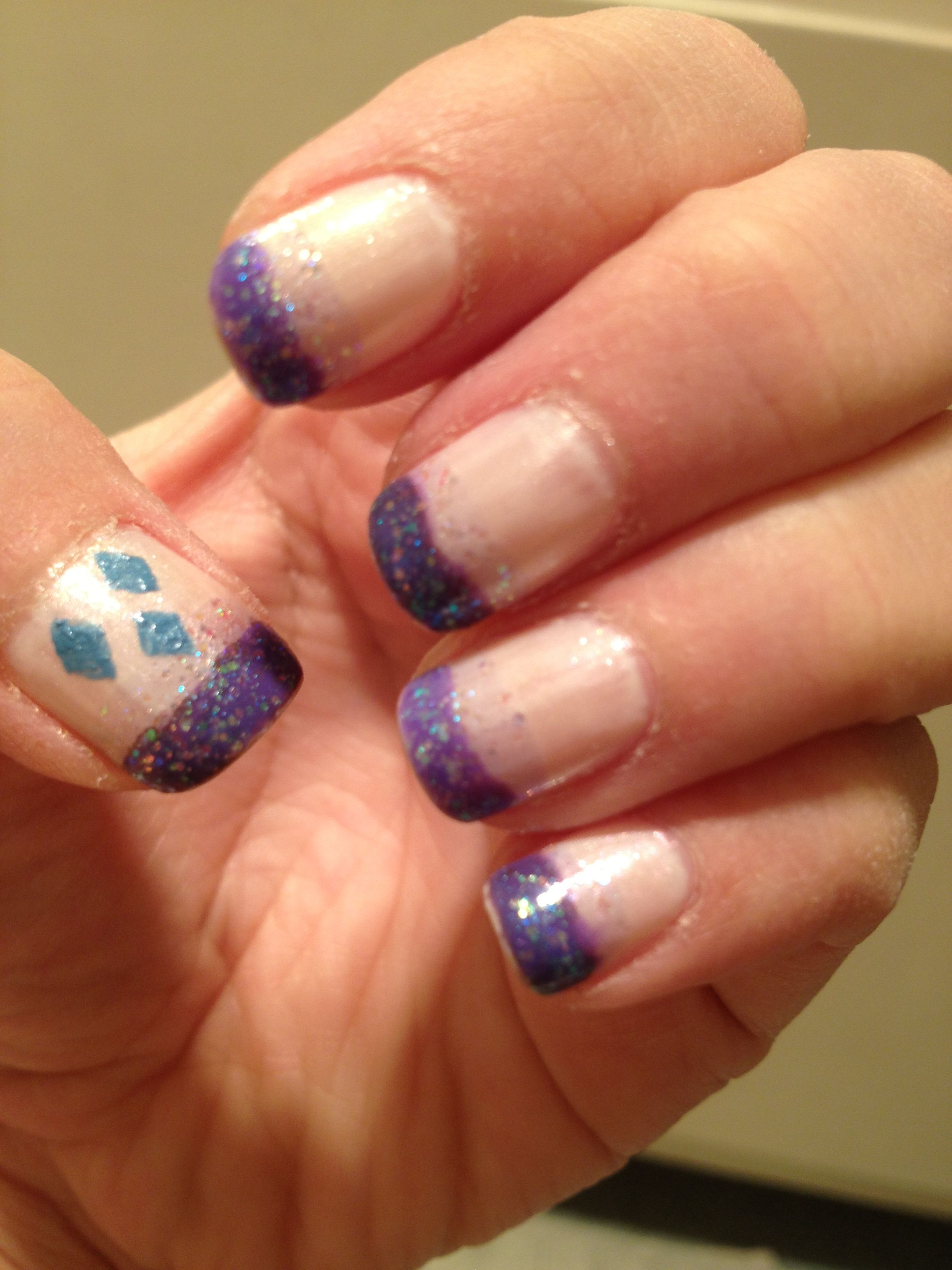 Mlp inspired nail art. Rarity glitter purple on frosty white with ...