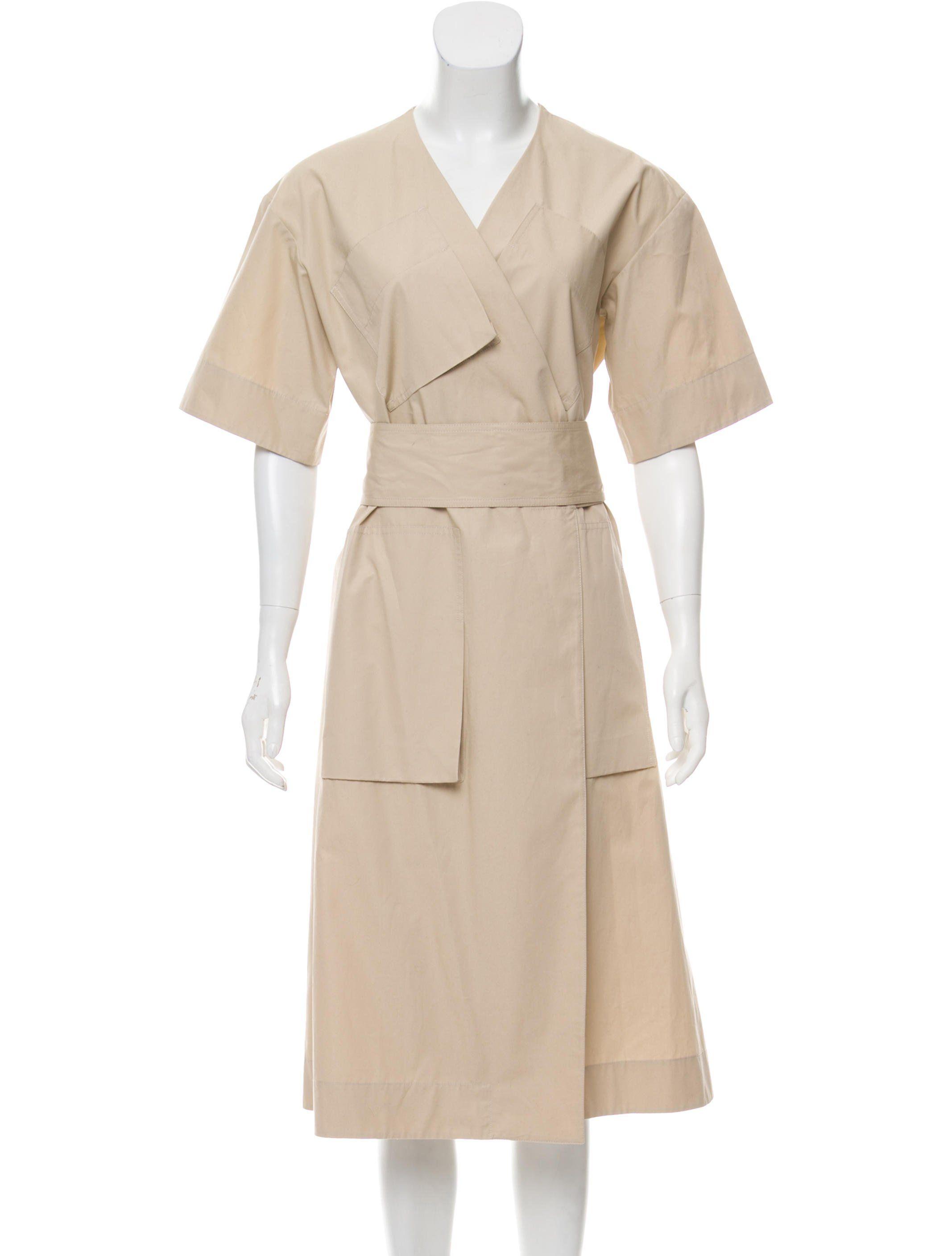 Celine Beige Cotton Wrap Dress Cotton Wrap Dress Clothes Wrap Midi Dress [ 2815 x 2134 Pixel ]