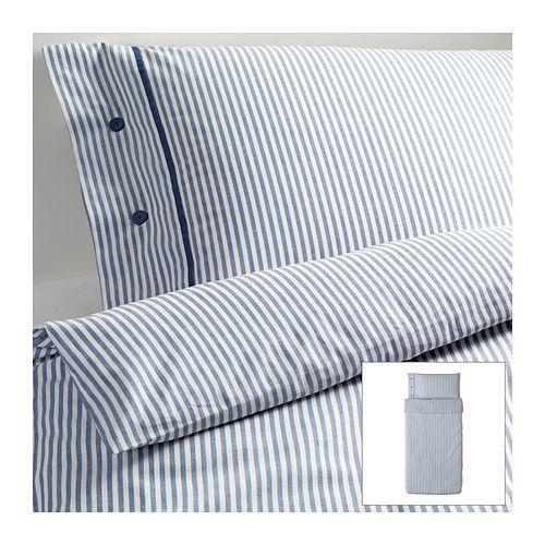 Ikea Blue Classic Ticking Stripe Cottage Duvet Quilt Cover 2pc Twin Nyponros Ikea Duvet Cover Ikea Duvet Ikea Bed