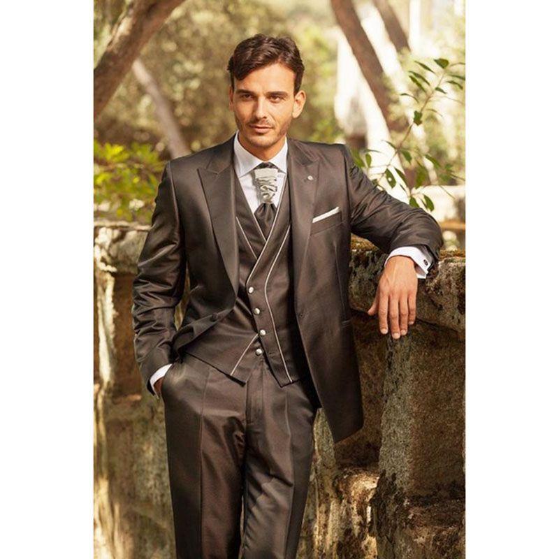 Latest Coat Pant Designs Italian Dark Brown Men Suit Tuxedo Groom Slim Fit  Pieces