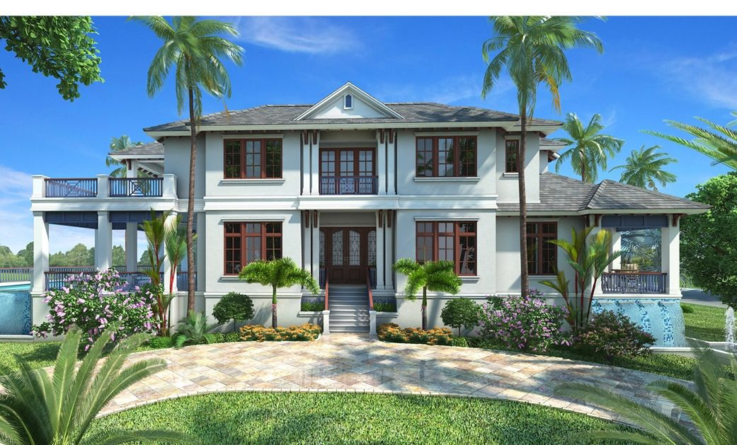 this 2 story west indies floor plan features a great room, formal