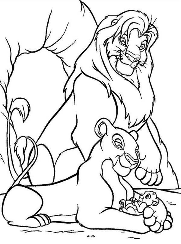 Mufasa Nala and Simba in Front of The Cave The Lion King Coloring