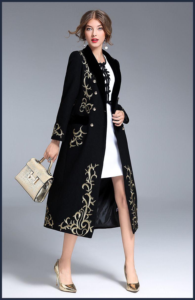 aab8e921d362 Dlhý čierny noblesný dámsky kabát s výšivkou