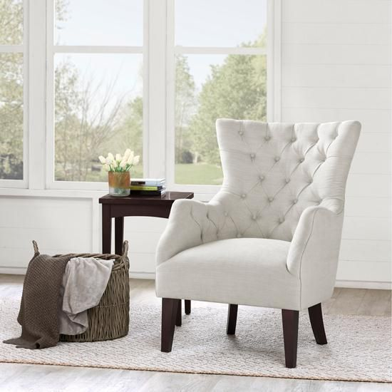 Hannah Off White Wing Chair Living Room Seat Furniture Accent Home ...