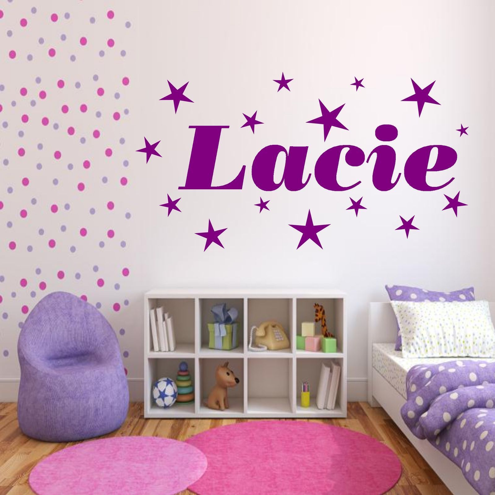Personalised Stars Name Girls Bedroom Wall Art Stickers Decal Transfer