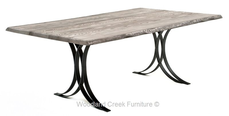 Slab Table With Metal Wrought Iron Base