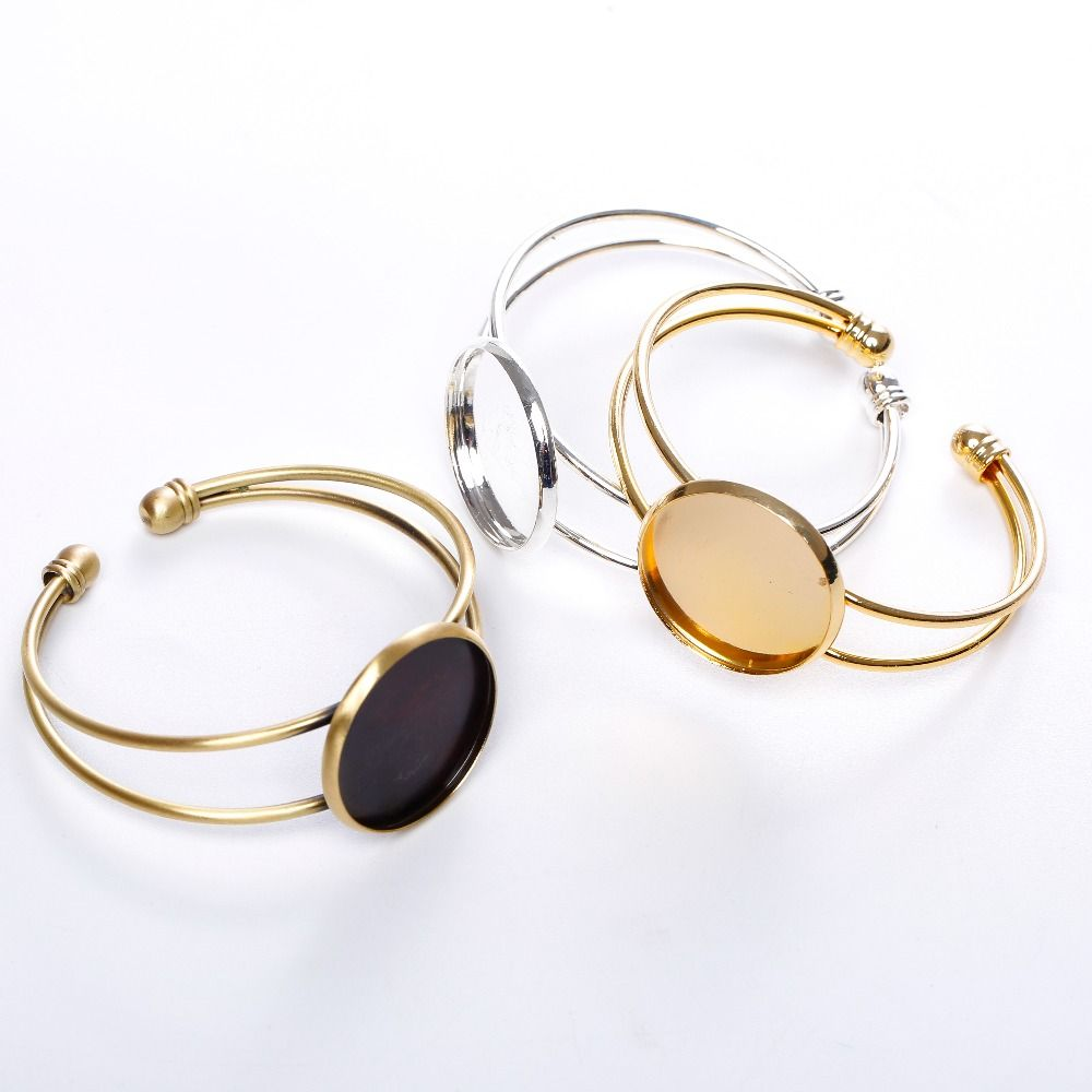 Silver Plated 25mm Cuff Bracelet Settings Round Cabochon