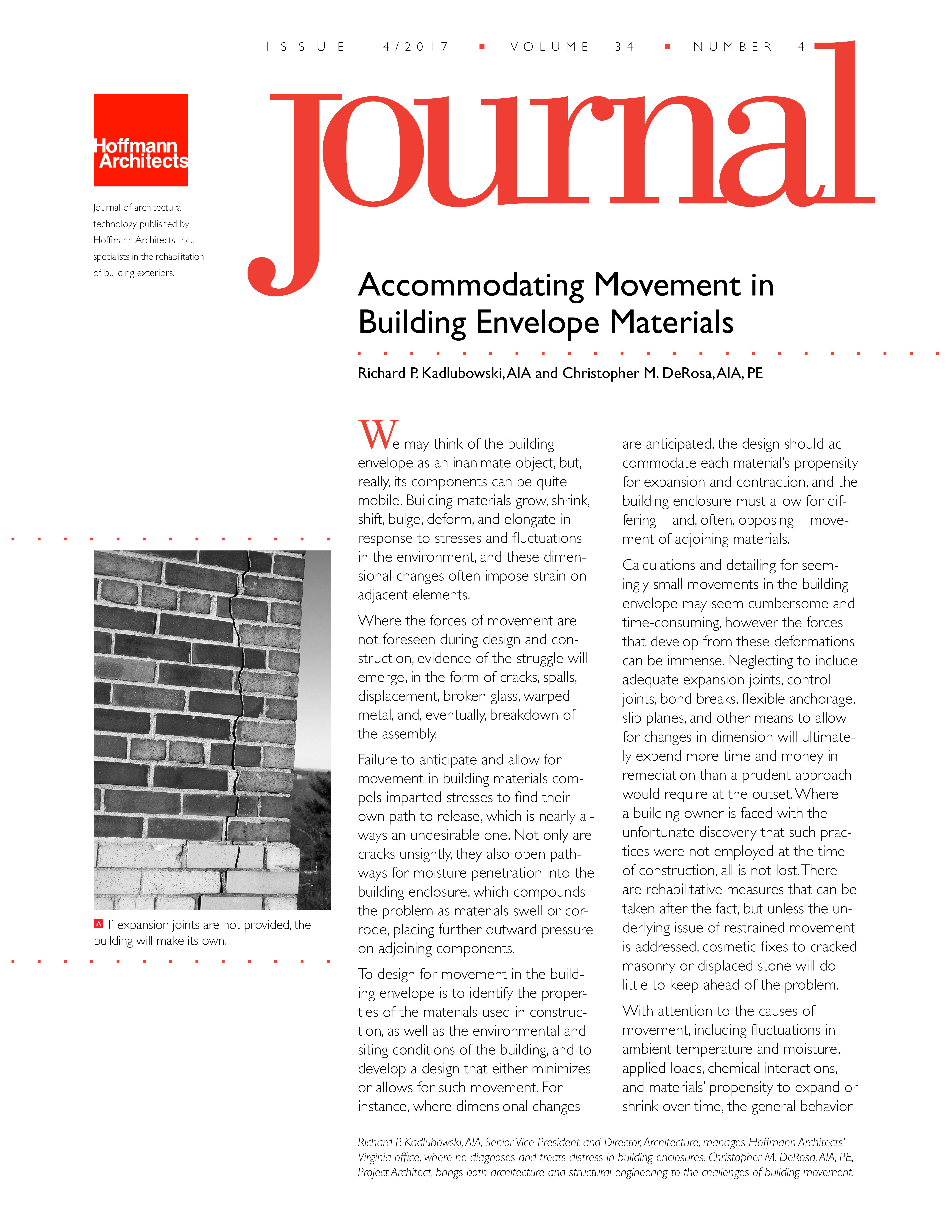 Accommodating Movement In Building Envelope Materials Hoffmannarchitectsjournal Architects Journal Movement Journal