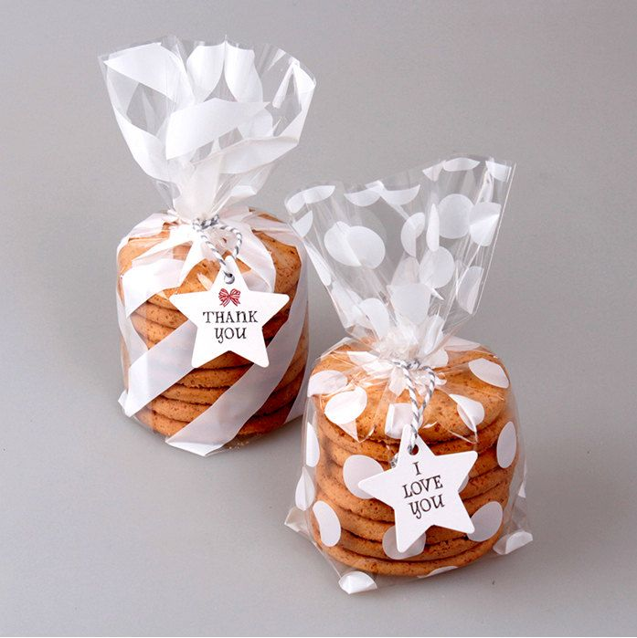 40 White Stripes Polka Dot Plastic Bags Cookie Bag Wedding Favor Bridal