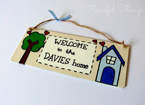 Personalised Welcome to the Family Home Wooden Door Sign or Wall Plaque Home Sweet Home