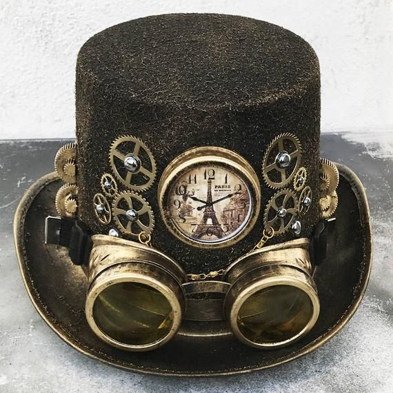 STEAMPUNK HAT GOGGLES Set - 2 pc Gold Brass Vintage-Look Steampunk Top Hat  with Clock ee4cdceb87e6
