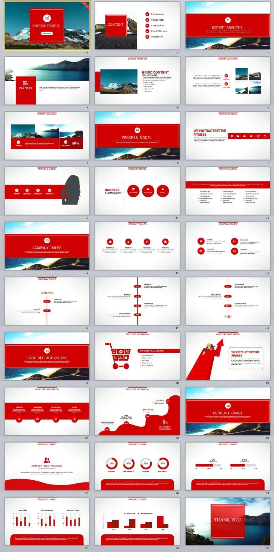 30+ red business report powerpoint templates | branding, Modern powerpoint