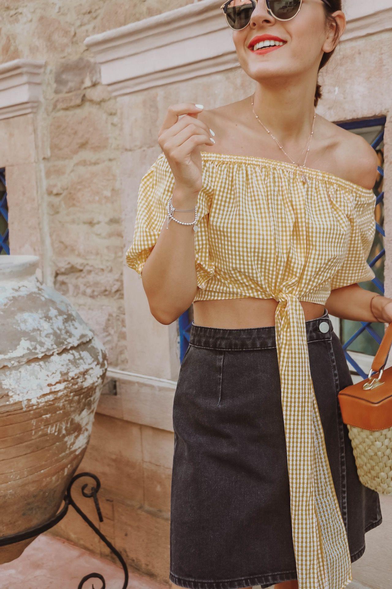 Cunda: Yellow Vichy Caro Crop Top - Fashionnes Mode ...