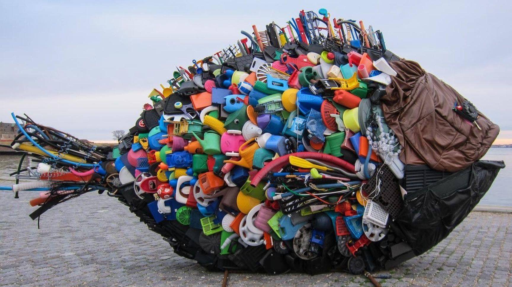Vis van plastic afval