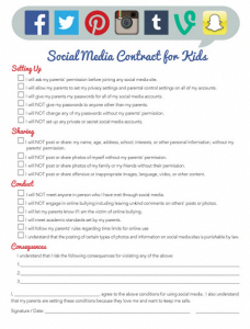 Example Contracts For Social Media Cellphone Usage Etc To Use With Your Kids