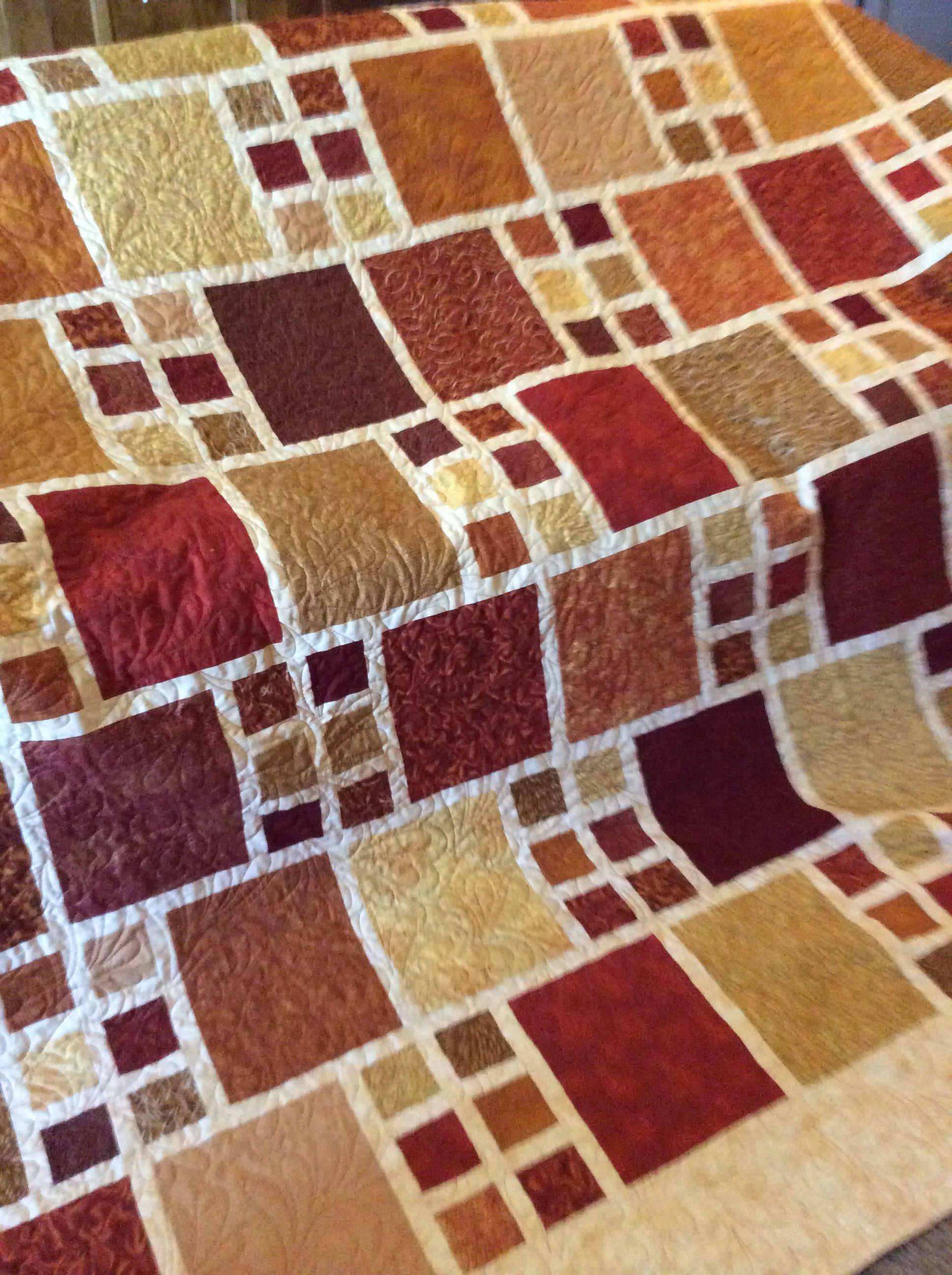 Custom Order 110x110 Modern Quilt In Cream Orange And