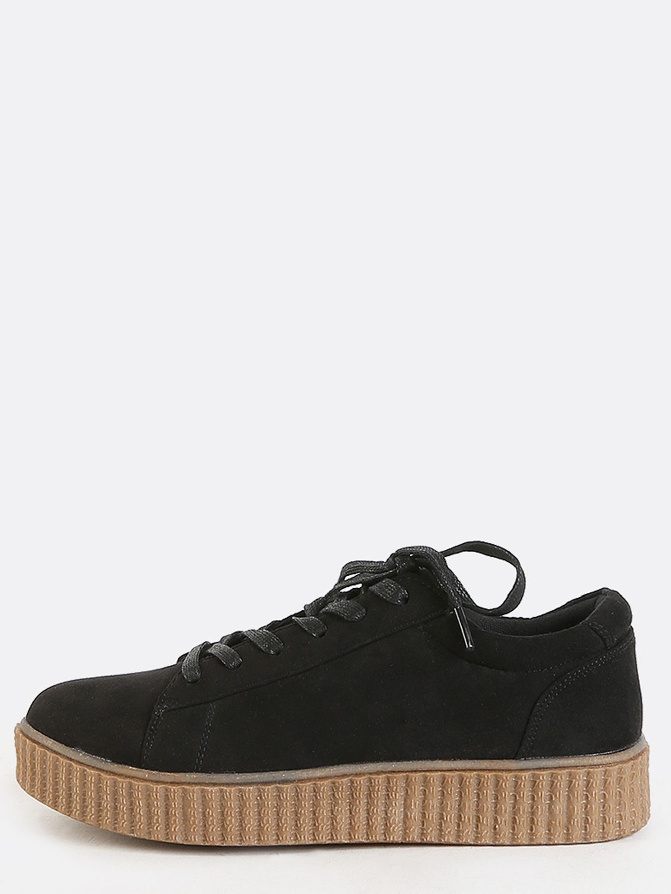 Faux Suede Platform Sneakers BLACK