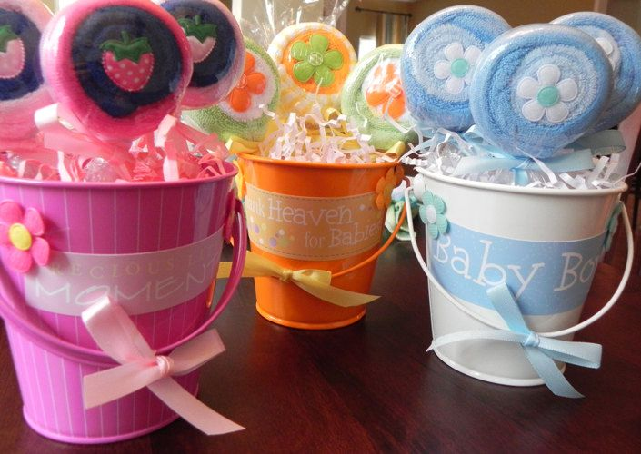 Washcloth Lollipop Pail   Unique Baby Shower Gifts And Favors Infant  Washcloth Boy Girl Neutral.