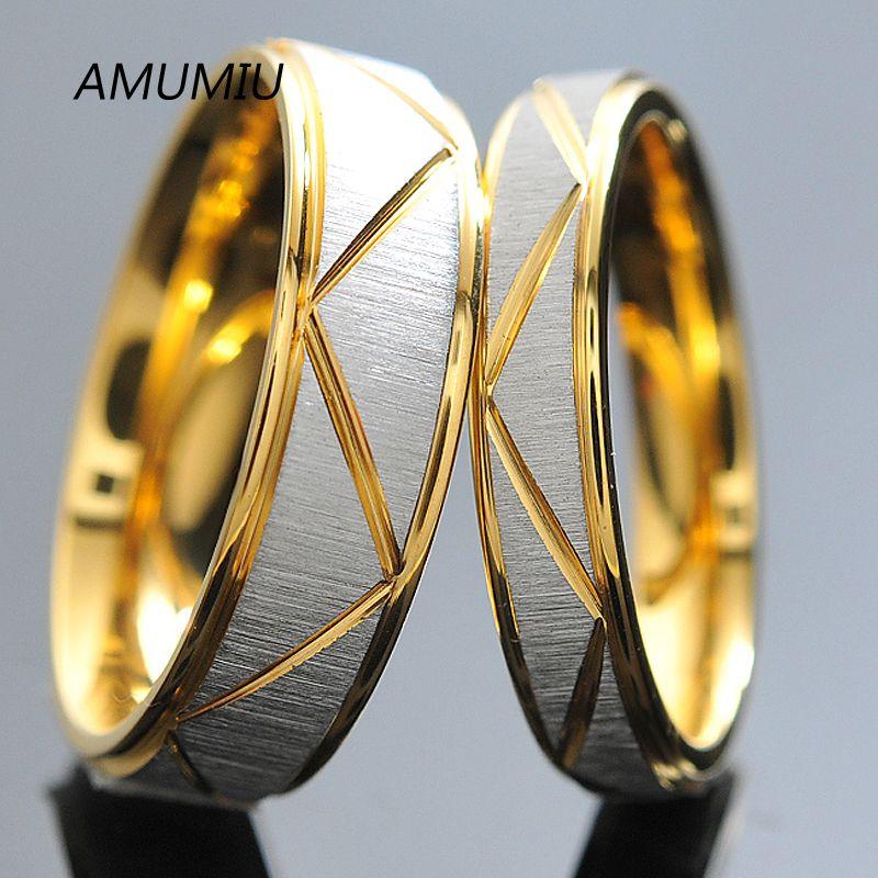 Amumiu anéis casal presente do dia dos namorados para os homens para as mulheres presentes do amante do anel de noivado de ouro anéis de aço inoxidável titanium r009