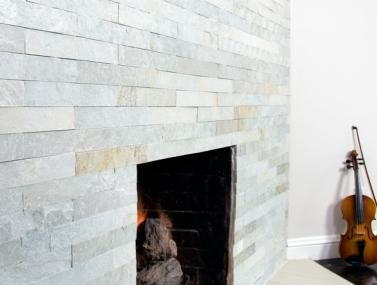 STRIP CLADDING HIMACHAL WHITE FIREPLACE