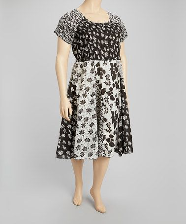 96a852c4c29c Another great find on  zulily! Black   White Patchwork Dress - Plus by La  Cera  zulilyfinds