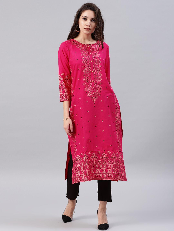b0571e79bae Buy Vishudh Women Pink Printed A Line Kurta - - Apparel for Women from  Vishudh at