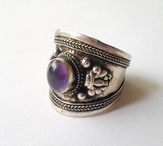 Vintage Purple Moonstone and Sterling cigar cuff by DejaBlonde, $85.00