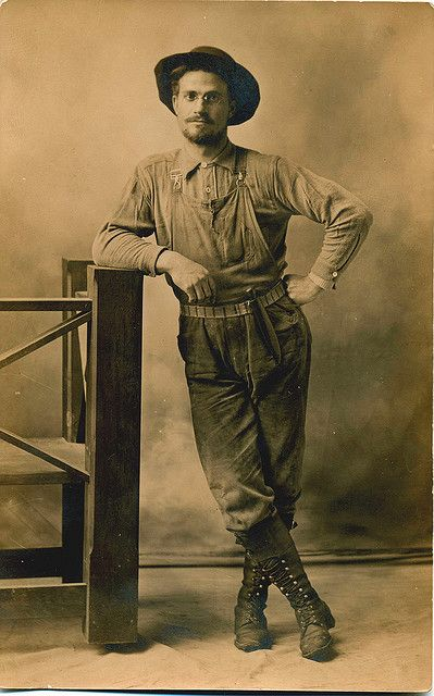 Cowboy, postcard, 1912. The rimless fingerpiece pince-nez and earloop is hardly the way Hollywood would depict him. Film makers miss the fact that pince-nez eyeglasses were the height of fashion and rarely show anyone wearing a pince-nez except for old professors and society matrons.