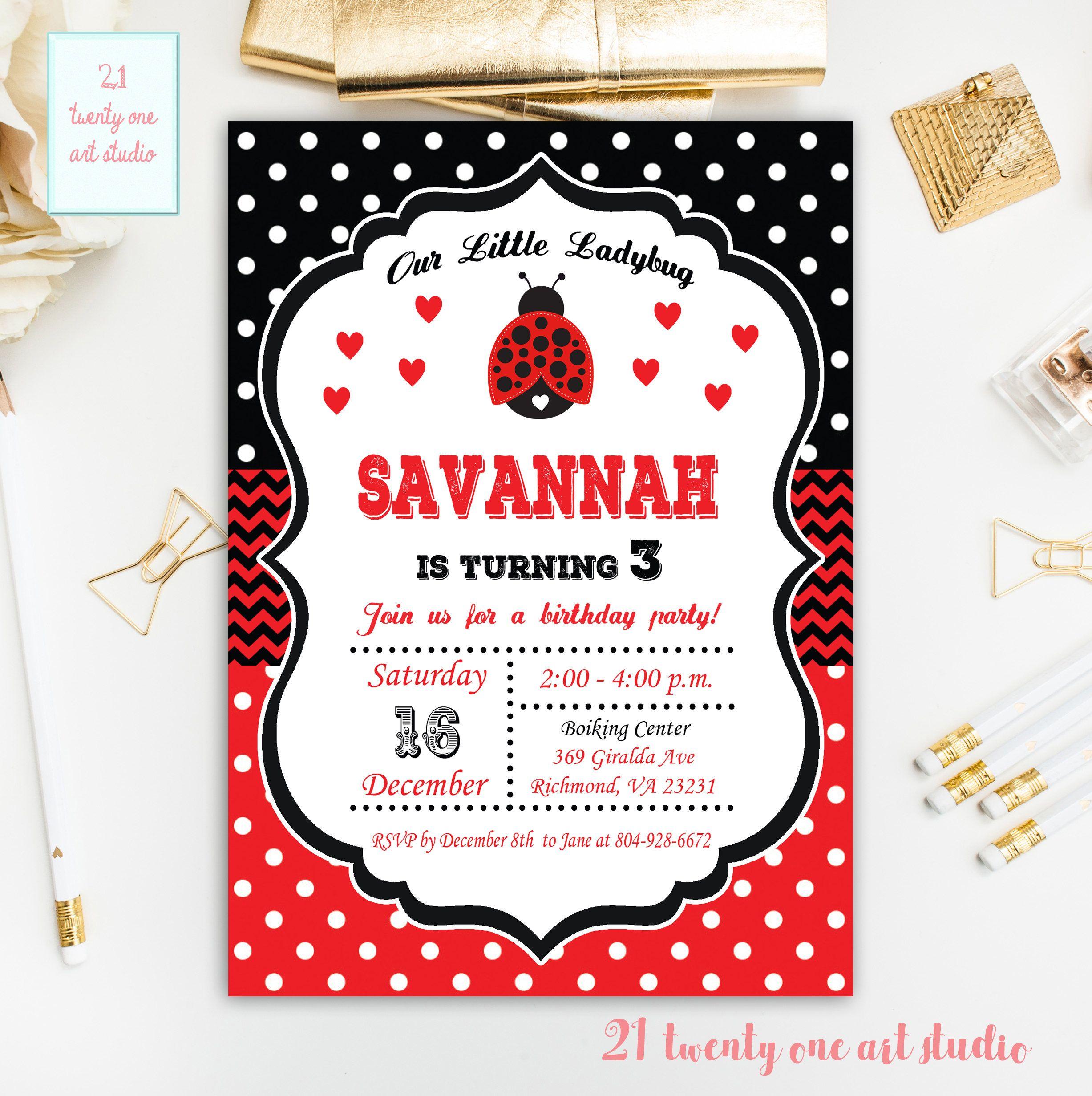 Ladybug birthday Invitation, Girl Birthday Invitation, Our Little ...