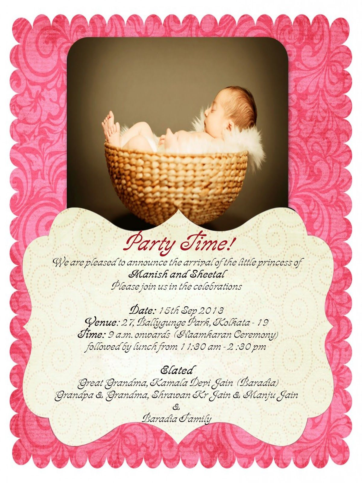 Cradle Ceremony Invite Free Baby Girl Naming Ceremony Invitation