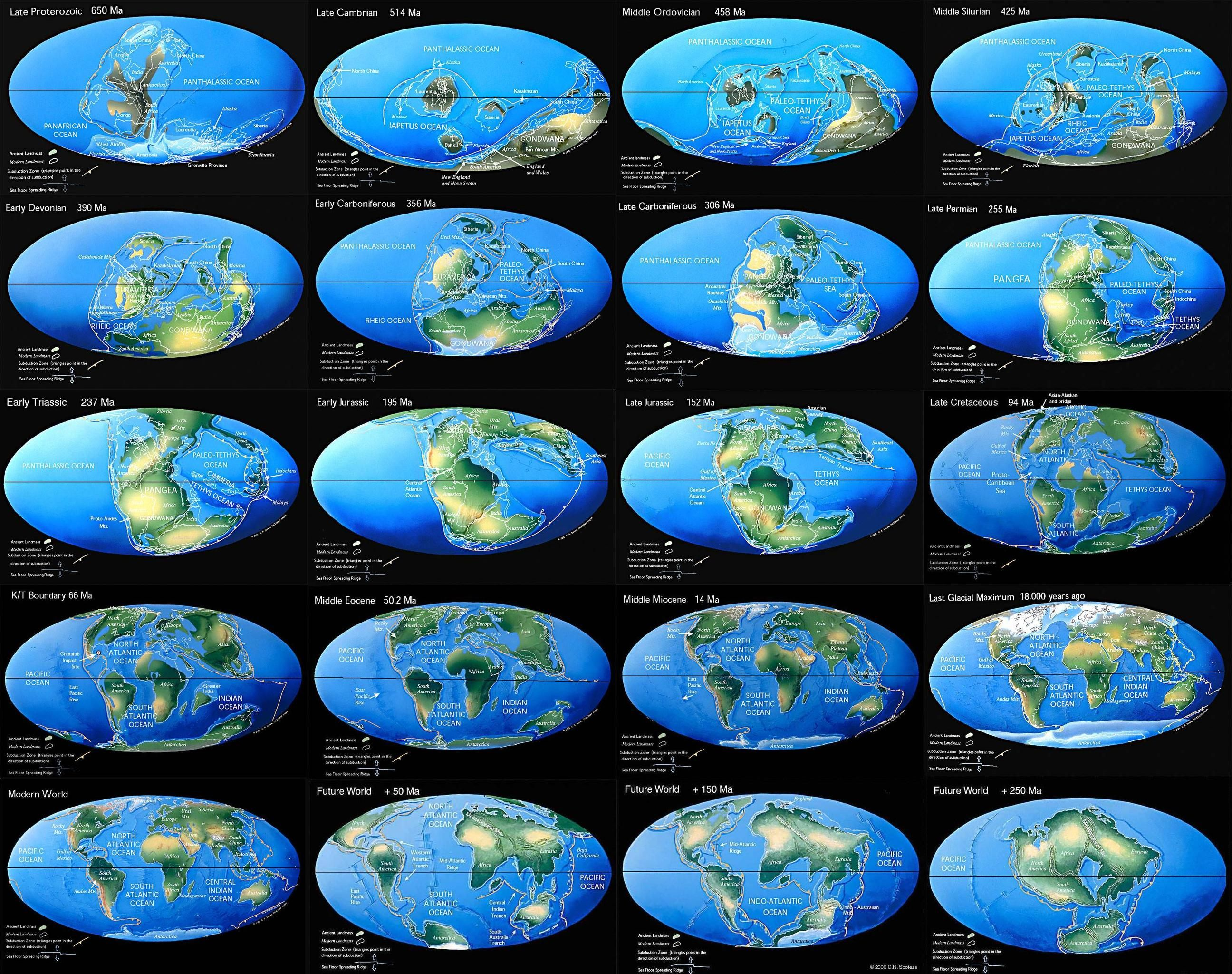 Continental drift in 20 steps from 650 million years in the past