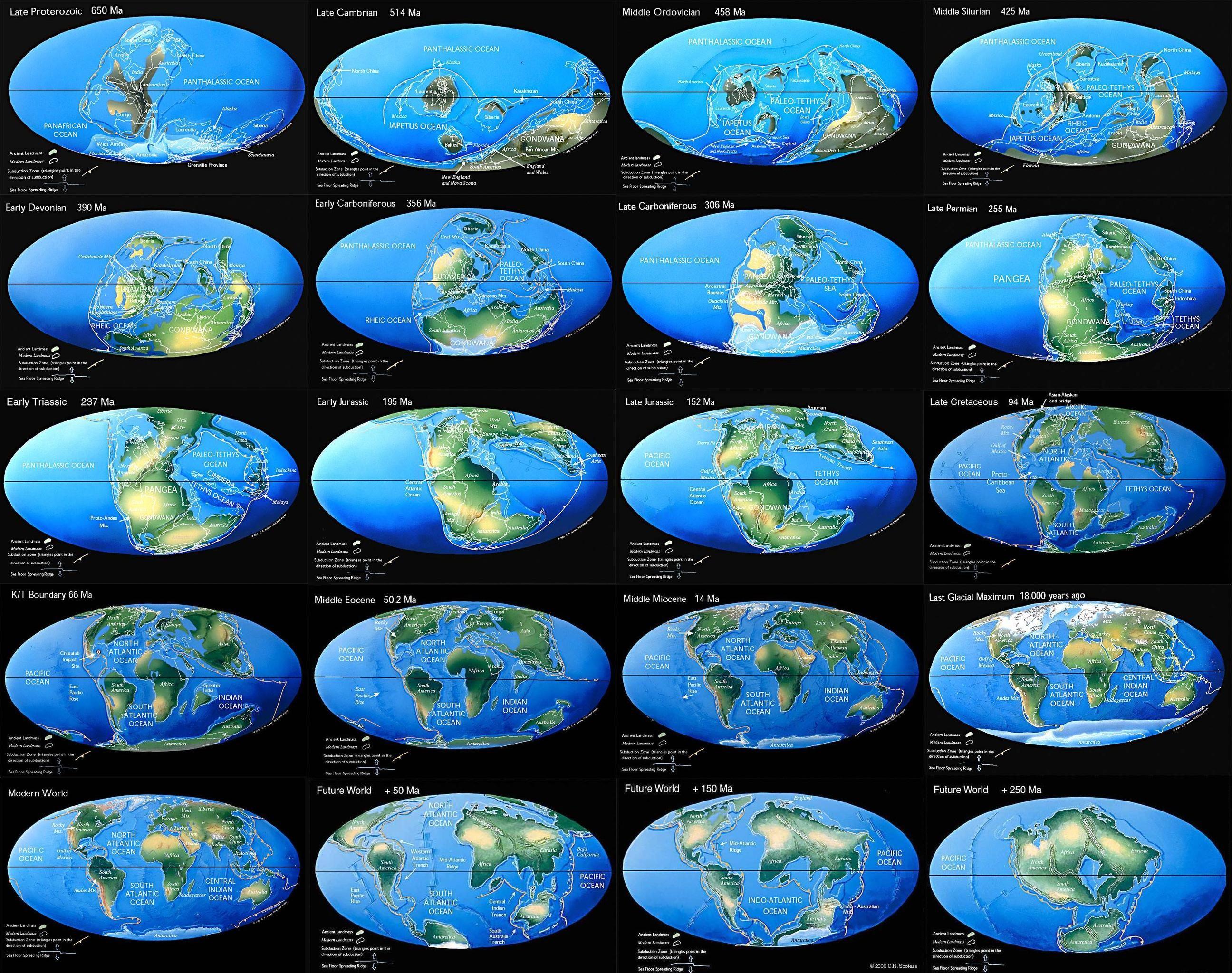 Continental drift -650 million years to 250 million years ...