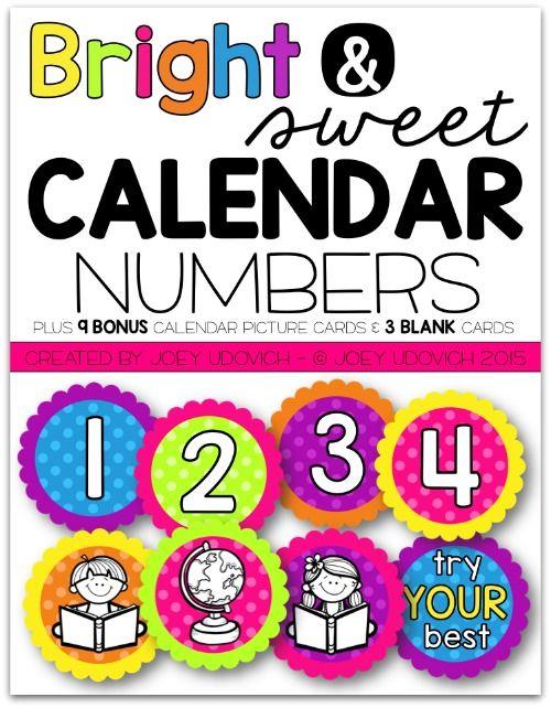 Calendar Numbers - Bright  Sweet Theme KindergartenKlub