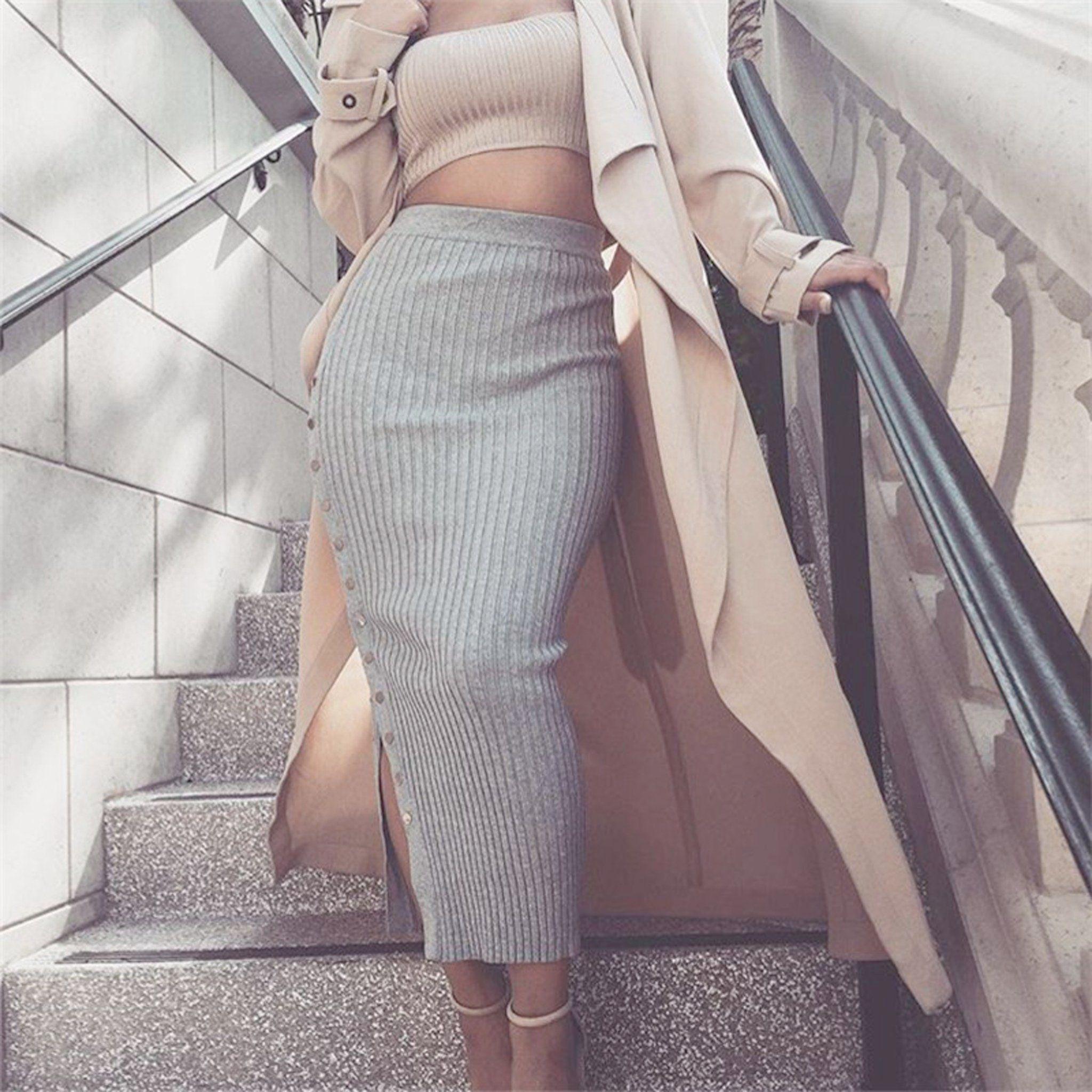 Topashe Womens Sleeveless Split Tight Tight Skirt Outfit