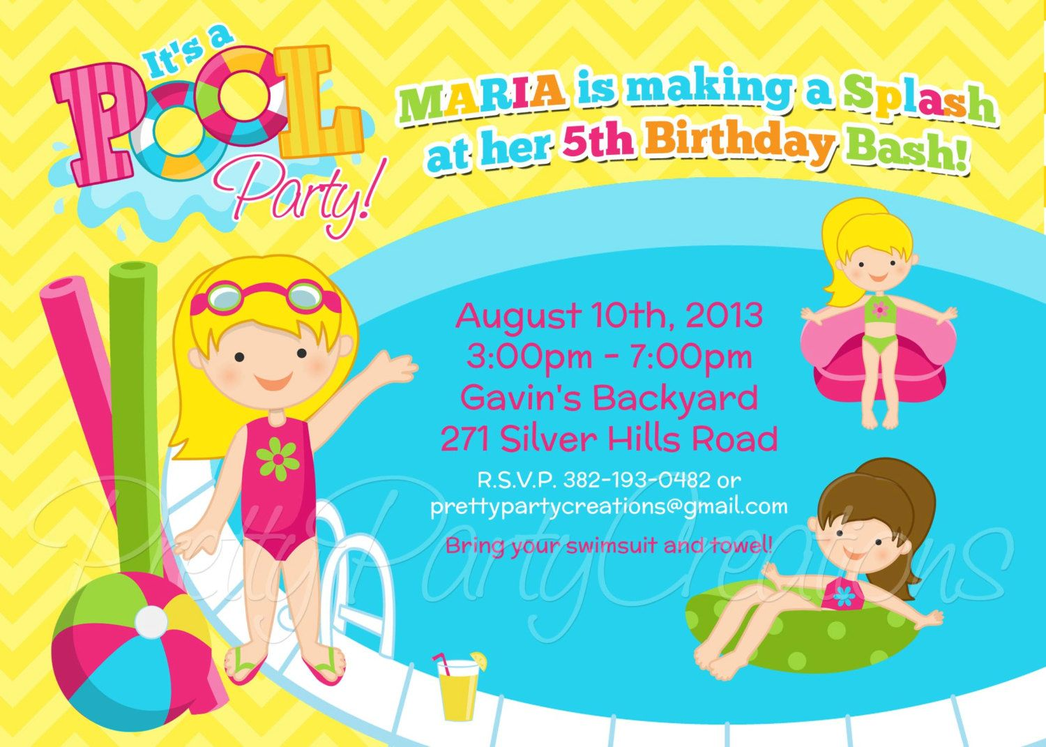 Swimming Pool Party Clip Art Girl Pool Party Invitation You – Pool Party Invitations