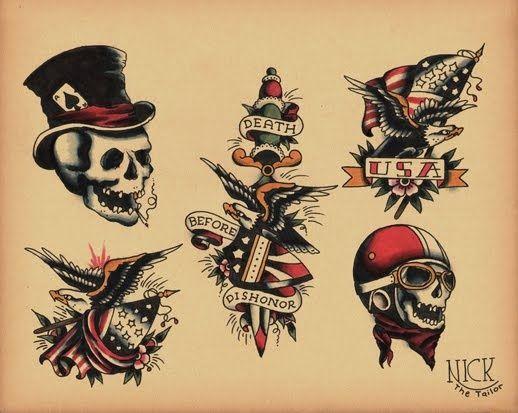 Old School Skull Tattoo Google Search Old School Tattoo School Tattoo Biker Tattoos