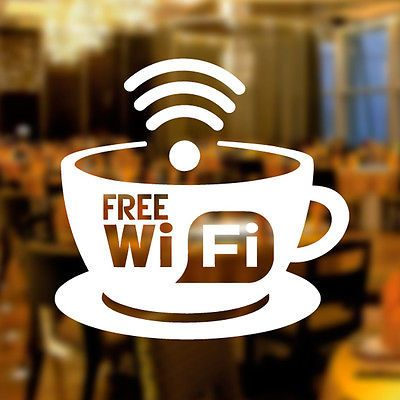 Details About Free Wifi Cup Window Sign Vinyl Sticker Graphics