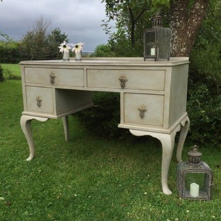 Vintage Grey Hand Painted Dressing Table Writing Desk Cabriole Legs 4 Drawers