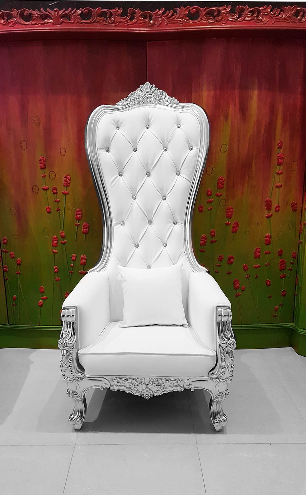 Baroque throne chair queen high back chair white leather