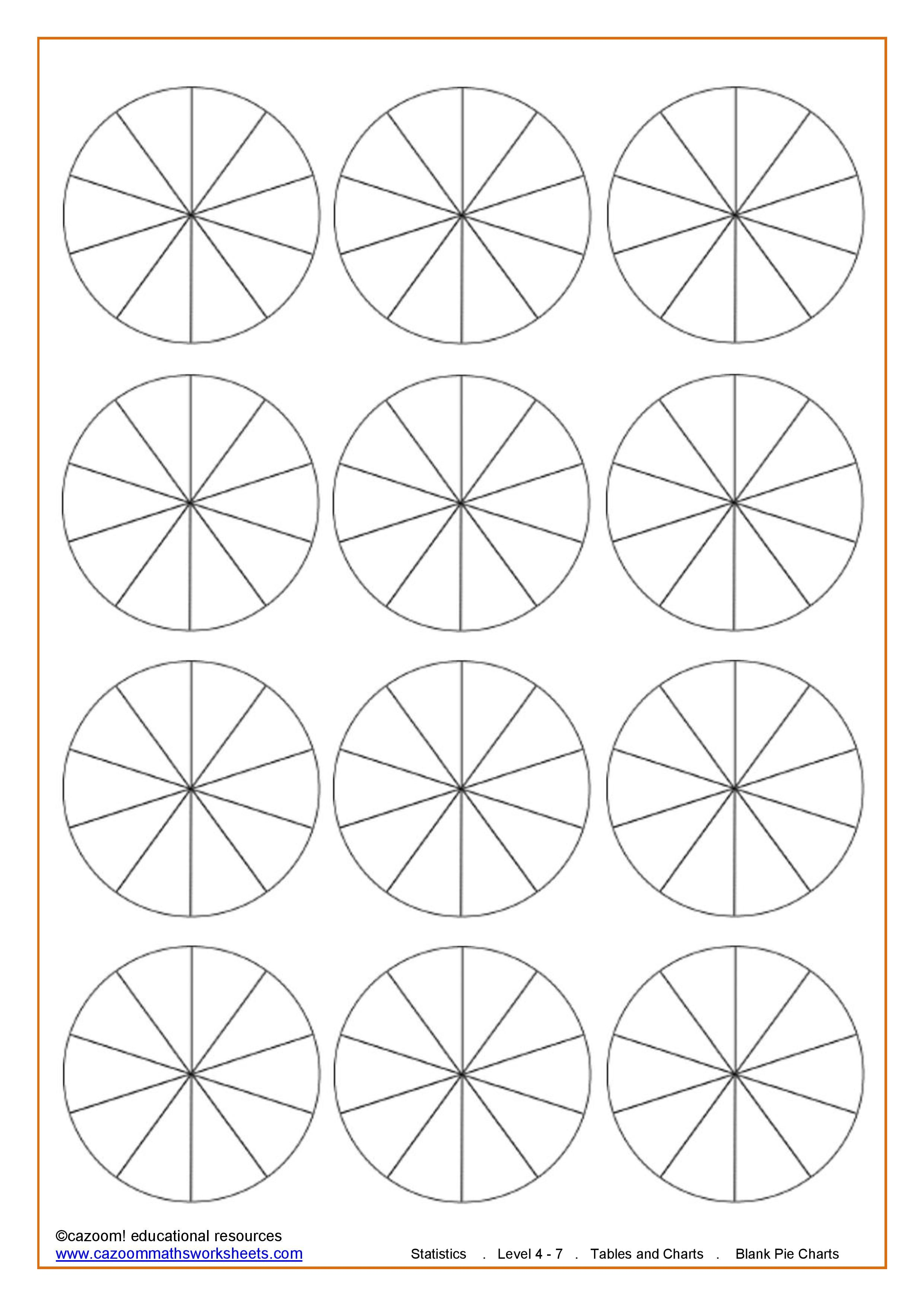 Worksheets Pie Chart Worksheets blank pie charts 10 sections school pinterest sections