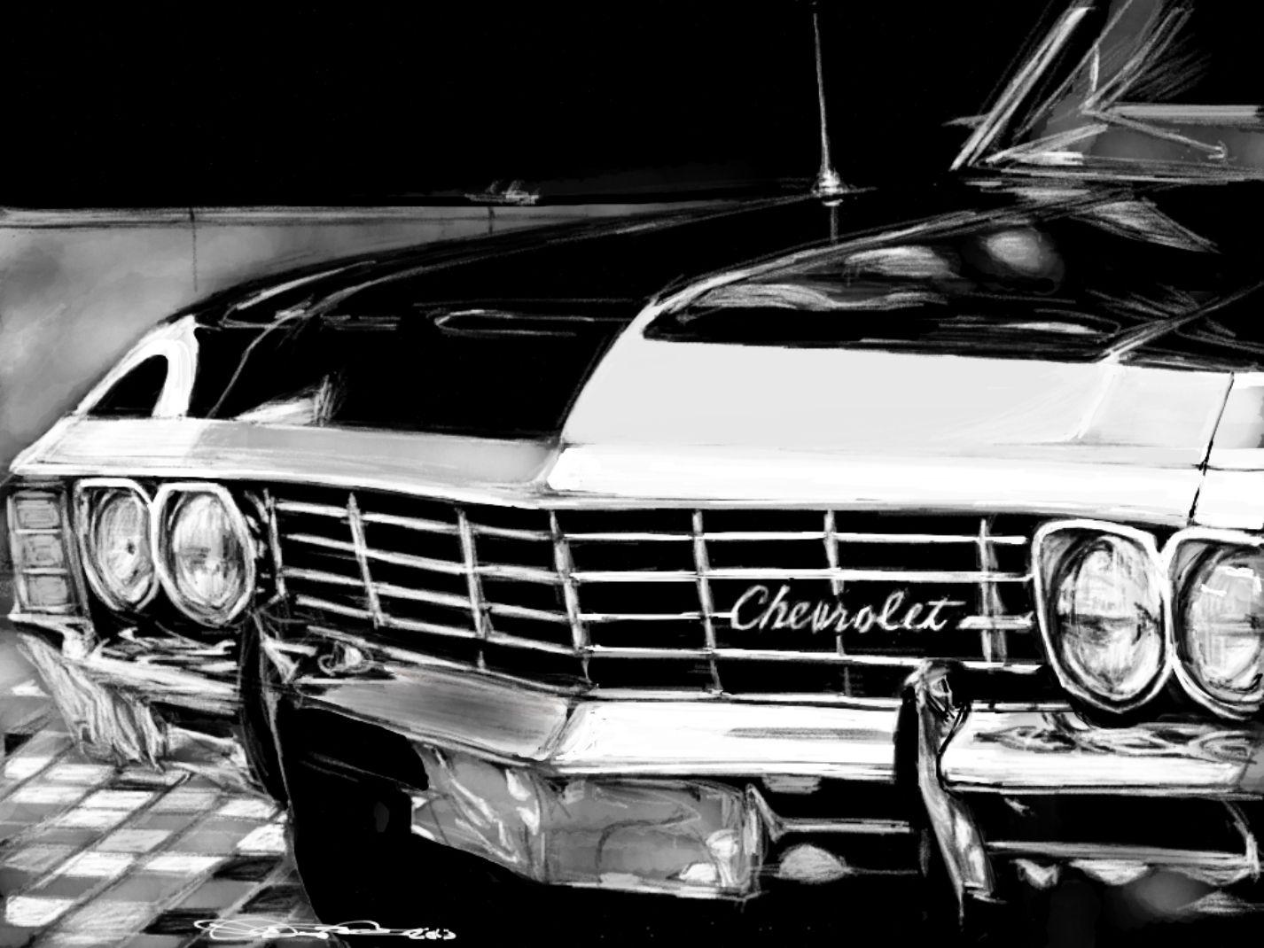 Chevrolet Impala Noir De 1967 Dean Mon Bebe Supernatural Impala Supernatural Supernatural Wallpaper