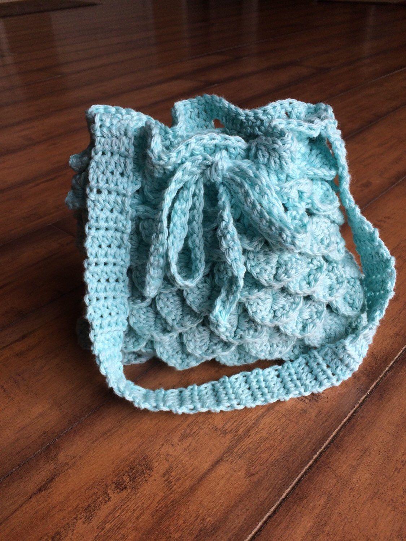 Unique Blue Crochet Purse, Lined Crochet purse, Drawstring Purse by ...
