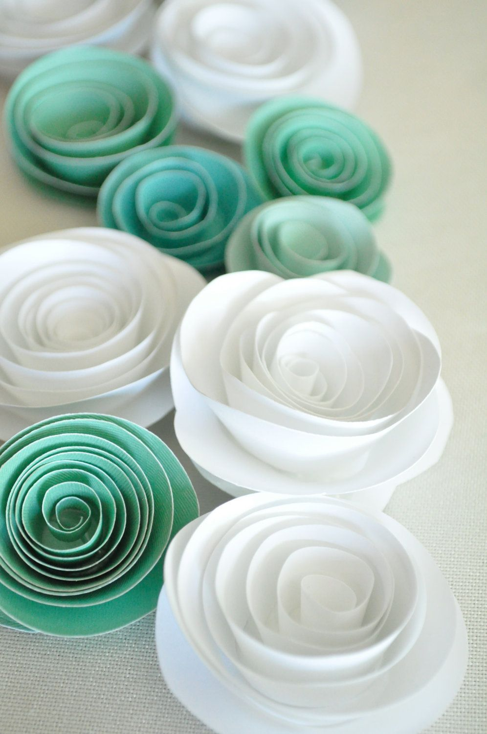 Paper Flowers Teal and White Paper Flowers Wedding Table Decorations ...