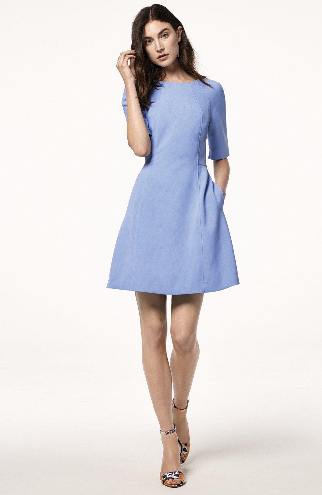 Vince Camuto Seamed Crepe A-Line Dress (Regular & Petite)