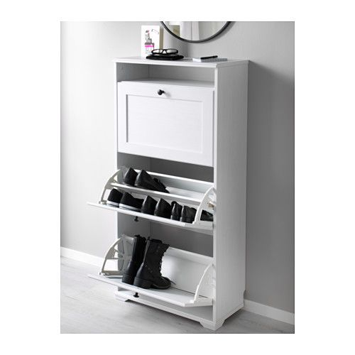ikea brusali shoe cabinet with 3 white helps you organise your shoes and saves floor space at the same timeyou can easily adjust the