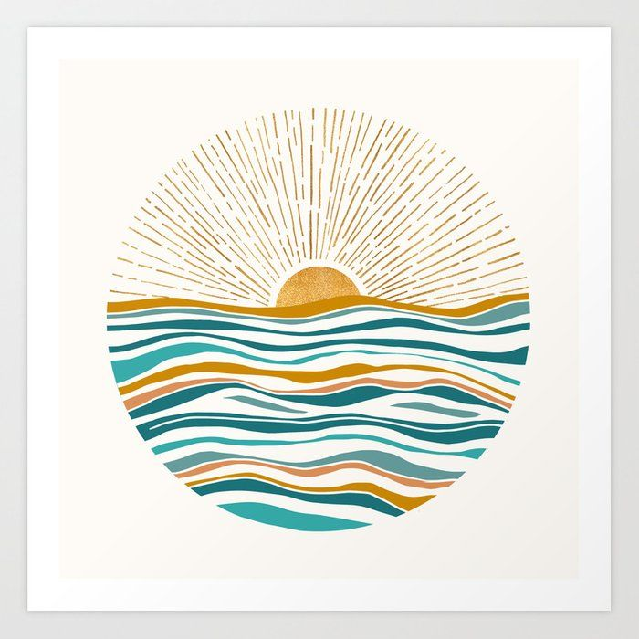 The Sun And The Sea - Gold And Teal Art Print by M