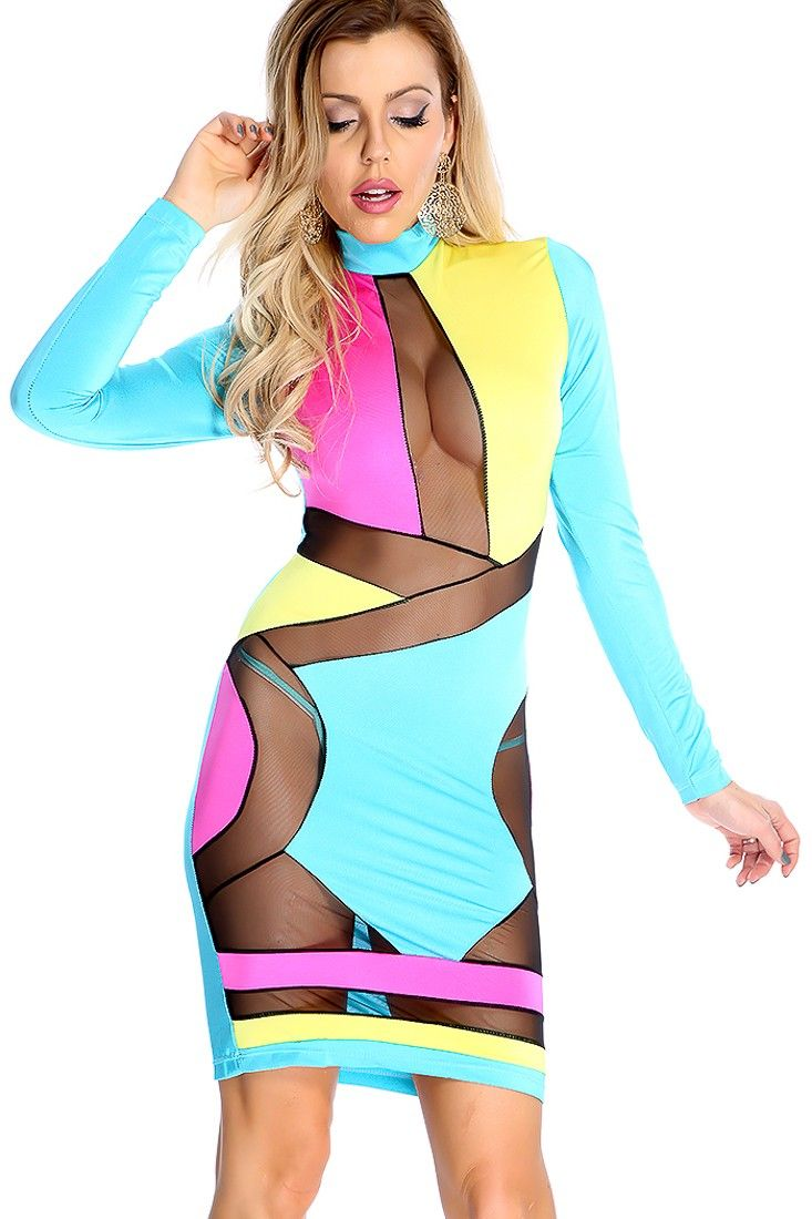 07cf9d1fcba1d Sexy Sky Blue Sleeveless Color Block Mesh Cut Out Bodycon Party ...