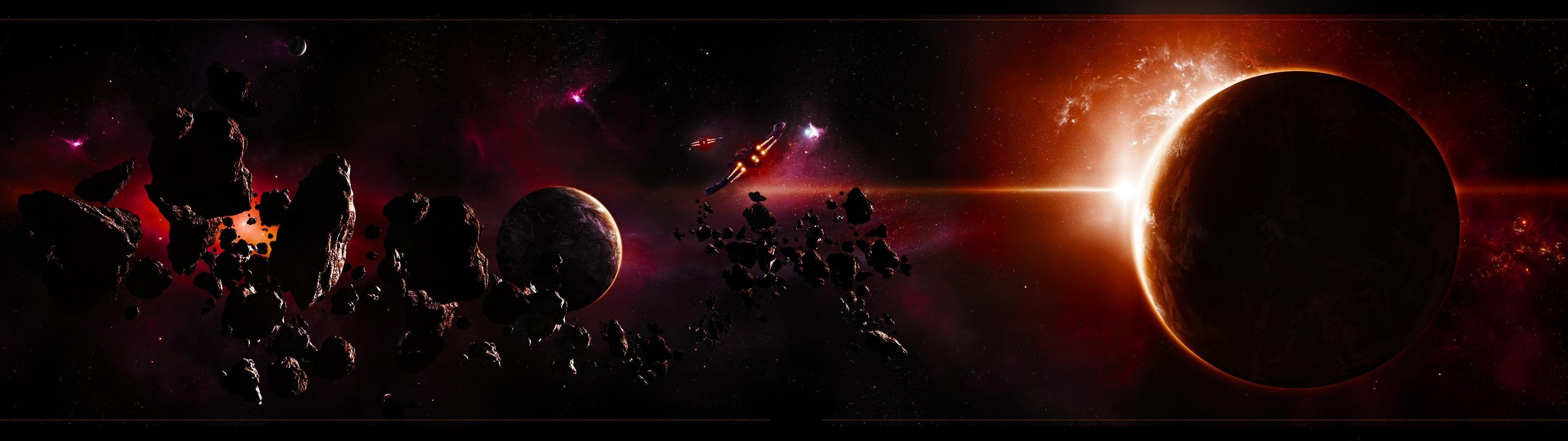 Multicolored Planet Wallpaper Space Space Dual Multi Screen Monitor 3840x1080 4k Wallpaper Hdwallpape In 2020 Planets Wallpaper Space Art Space Art Wallpaper