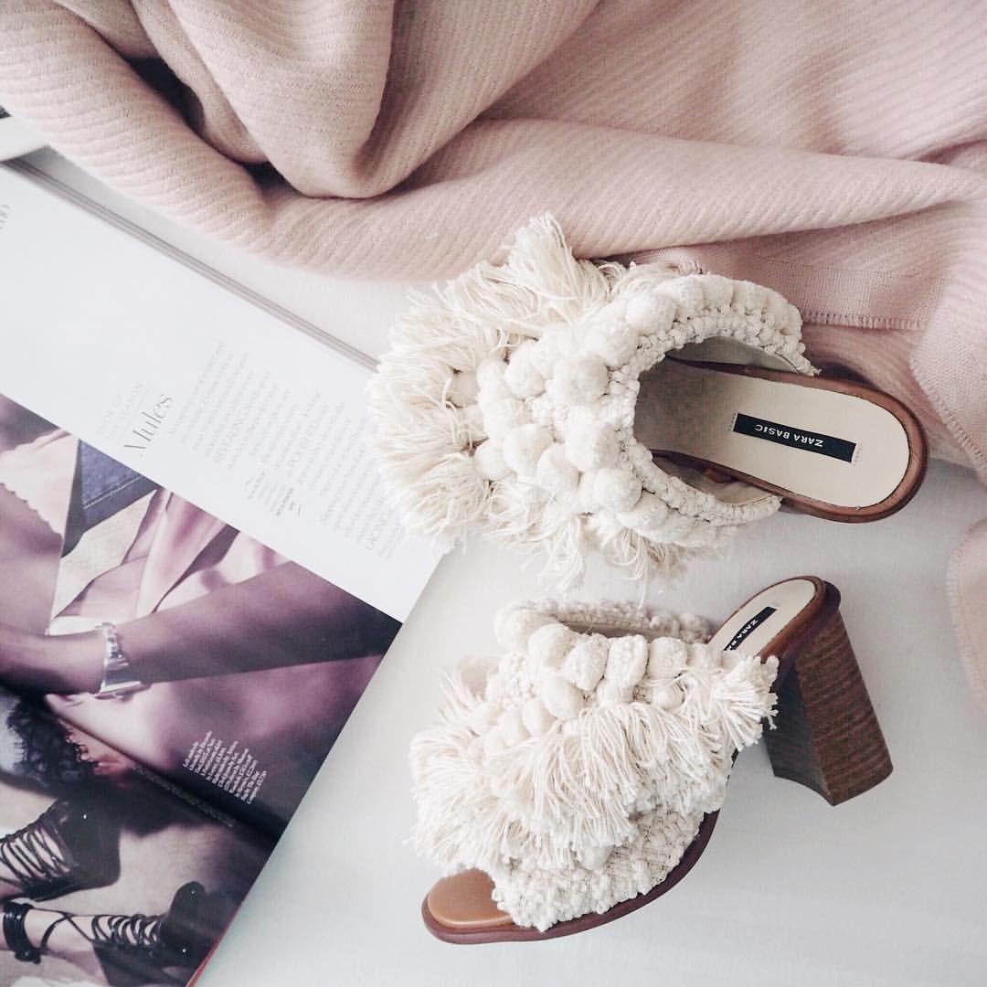 Zara white Pom Pom mules | Spring