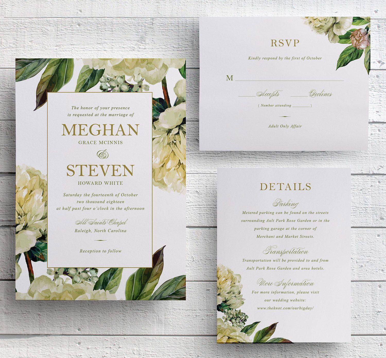 This Beautiful White Fl With Greenery Wedding Invitation